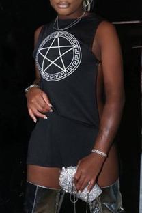 Black Sexy Print Cross Straps Slit O Neck Pencil Skirt Dresses
