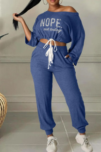 Blue Casual Split Joint Oblique Collar Long Sleeve Two Pieces