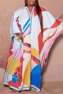 Multicolor Fashion Casual Print Basic V Neck Long Sleeve Plus Size Dresses