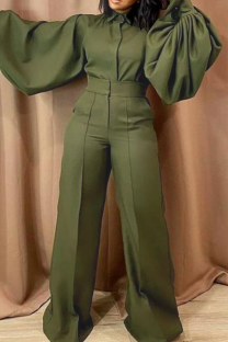 Green Casual Solid Split Joint Turndown Collar Straight Jumpsuits