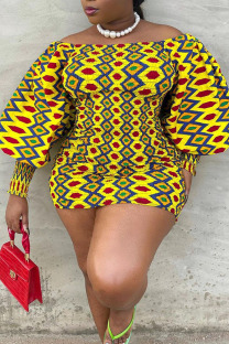 Yellow Elegant Print Split Joint Off the Shoulder One Step Skirt Plus Size Dresses