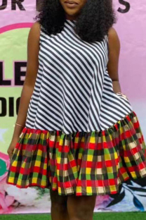 Multicolor Fashion Casual Plus Size Print Split Joint O Neck Sleeveless Dress