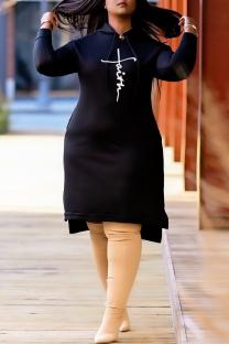 Black Fashion Casual Print Slit Hooded Collar Long Sleeve Plus Size Dresses