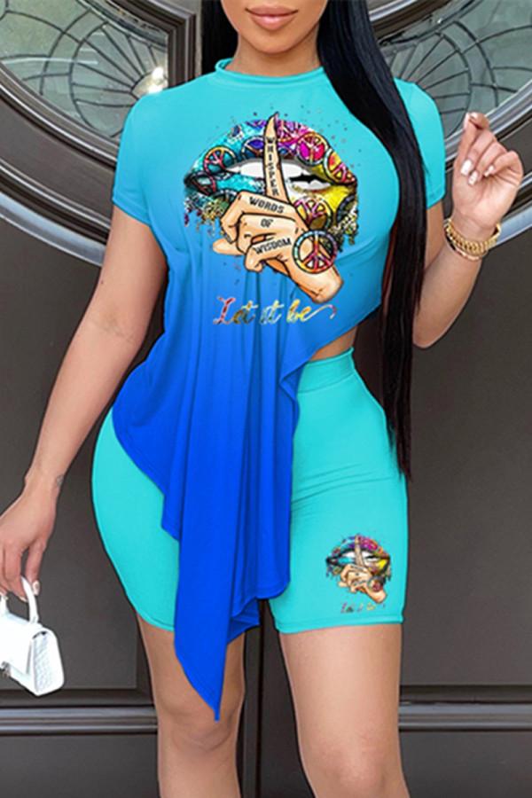 Blue Fashion Casual Gradual Change Print Asymmetrical O Neck Short Sleeve Two Pieces