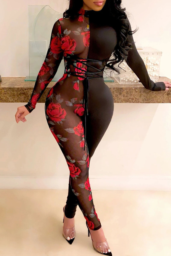 Black Red Fashion Sexy Print Split Joint O Neck Jumpsuits