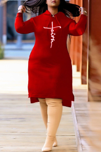 Red Fashion Casual Print Slit Hooded Collar Long Sleeve Plus Size Dresses