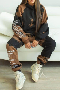 Black Brown Fashion Casual Letter Print Tie-dye Hooded Collar Long Sleeve Two Pieces