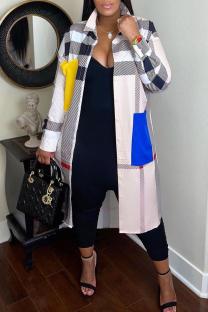 Multicolor Fashion Casual Print Split Joint Turndown Collar Outerwear