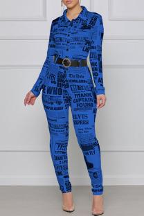 Blue Fashion Street Print Split Joint Turndown Collar Jumpsuits