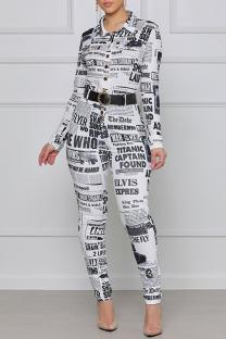 White Fashion Street Print Split Joint Turndown Collar Jumpsuits