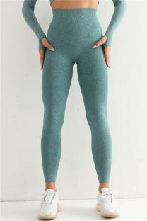 Green Casual Sportswear Solid Split Joint High Waist Skinny Trousers