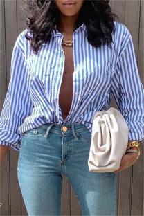 Blue Fashion Casual Striped Print Cardigan Turndown Collar Tops