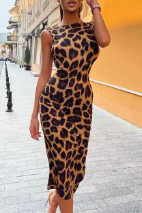 Leopard Print Sexy Casual Print Leopard Backless O Neck Sleeveless Dress