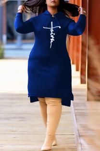 Blue Fashion Casual Print Slit Hooded Collar Long Sleeve Plus Size Dresses