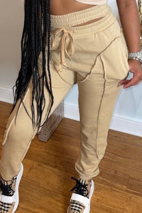 Light Brown Fashion Casual Solid Split Joint Regular High Waist Trousers
