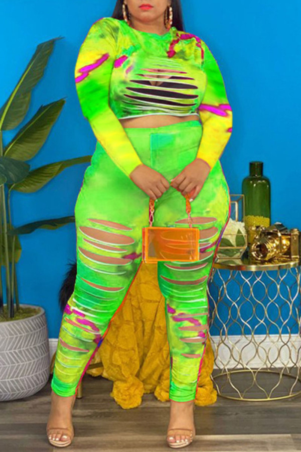 Green Casual Print Hollowed Out Split Joint O Neck Plus Size Two Pieces