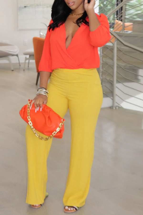 Red Yellow Casual Solid Split Joint V Neck Three Quarter Two Pieces
