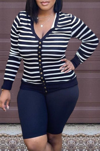 Black Fashion Casual Striped Split Joint V Neck Long Sleeve Two Pieces