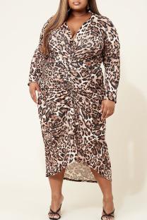 Leopard Print Casual Print Leopard Split Joint Fold V Neck Straight Plus Size Dresses