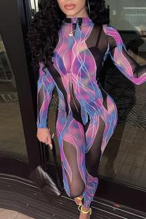 Purple Sexy Print Split Joint O Neck Regular Jumpsuits