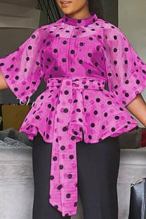 Rose Red Fashion Dot Print Frenulum See-through Mandarin Collar Tops