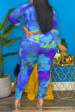 Blue Casual Print Hollowed Out Split Joint O Neck Plus Size Two Pieces