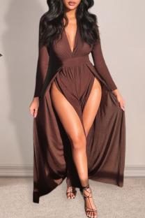 Coffee Fashion Sexy Solid Slit V Neck One Step Skirt Dresses