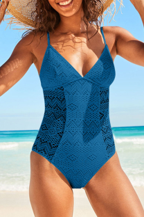 Tibetan Blue Sexy Solid Lace Split Joint Swimwears