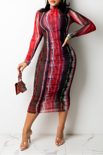 Red Sexy Print Split Joint O Neck Pencil Skirt Dresses