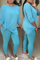 Blue Fashion Sexy Solid Split Joint O Neck Long Sleeve Two Pieces