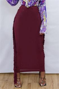 Burgundy Fashion Casual Solid Tassel Regular High Waist Skirt
