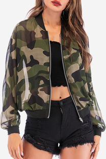 Camouflage Fashion Camouflage Print See-through Outerwear