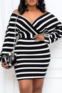 Black And White Fashion Casual Striped Print Basic V Neck Long Sleeve Plus Size Dresses