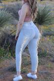 Deep Blue Fashion Street Solid Split Joint Plus Size Jeans