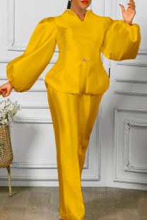 Yellow Fashion Casual Solid Slit V Neck Long Sleeve Two Pieces