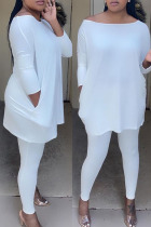 White Fashion Sexy Solid Split Joint O Neck Long Sleeve Two Pieces