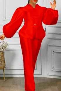 Red Fashion Casual Solid Slit V Neck Long Sleeve Two Pieces