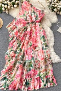 Pink Sweet Print Split Joint Flounce Asymmetrical Oblique Collar Dresses