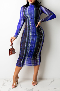 Blue Sexy Print Split Joint O Neck Pencil Skirt Dresses