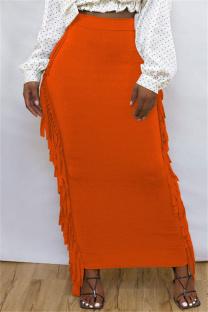 Orange Fashion Casual Solid Tassel Regular High Waist Skirt