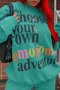 Fluorescent Green Casual Street Letter Print O Neck Long Sleeve Two Pieces