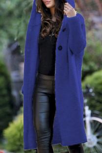 Royal blue Fashion Cardigan Hooded Long Jacket
