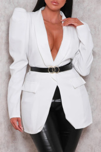 White Fashion Casual Solid Cardigan Turndown Collar Plus Size Overcoat (Without Belt)