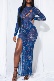 Blue Sexy Print High Opening O Neck Pencil Skirt Dresses