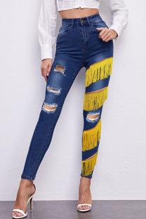 Dark Blue Fashion Street Patchwork Tassel Ripped Denim Jeans