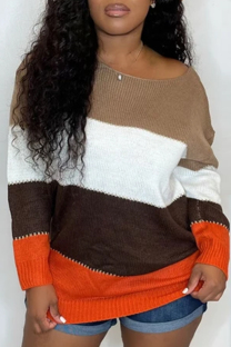 Brown Fashion Casual Striped Basic O Neck Long Sleeve Tops