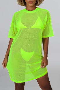 Green Sexy Solid Mesh O Neck Straight Dresses