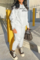 White Fashion Sportswear Print Split Joint Hooded Collar Long Sleeve Two Pieces