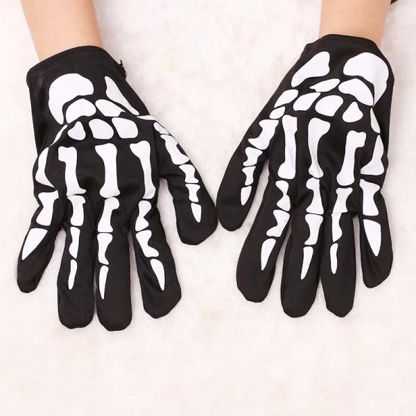 White Halloween Fashion Casual Skeleton Printing Gloves