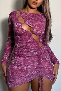 Purple Fashion Sexy Print Hollowed Out O Neck Long Sleeve Dresses